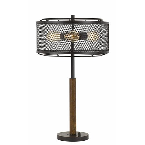 Dark Bronze with Wood Three-Light Table Lamp
