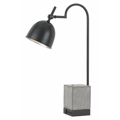 Black and Cement One-Light Desk Lamp with Outlet and Two USB Ports