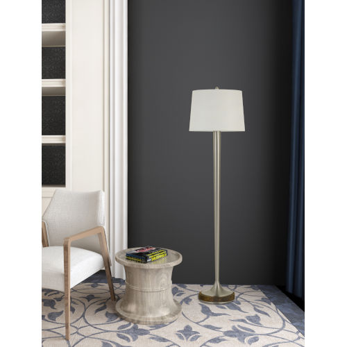 Chester Brushed Steel and White One-Light Floor Lamp