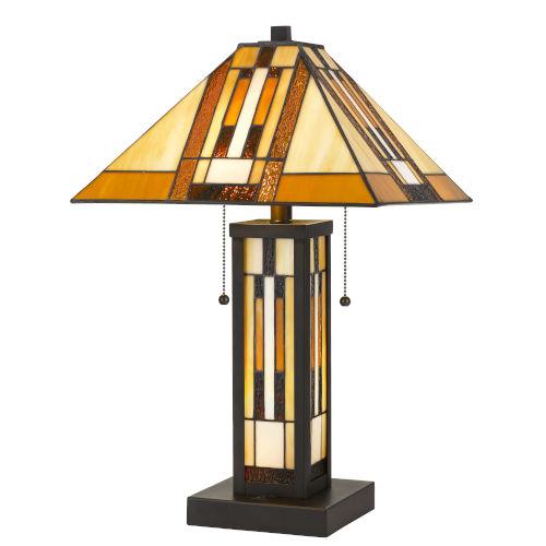 Tiffany Dark Bronze Three-Light Table Lamp