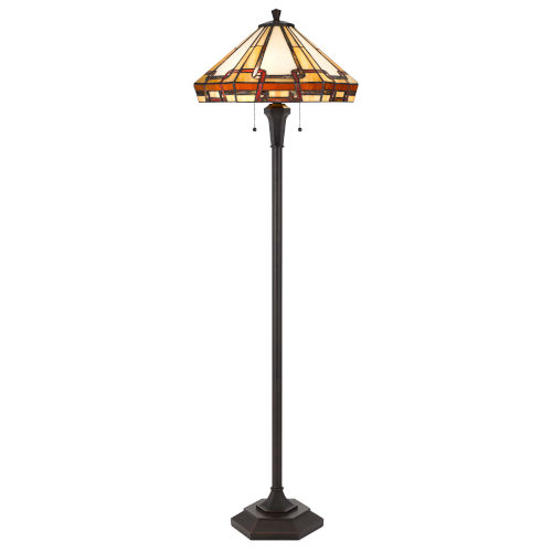 Tiffany Brown Two-Light LED Round Floor Lamp