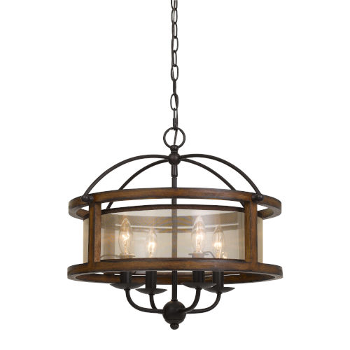 Walnut Four-Light Chandelier
