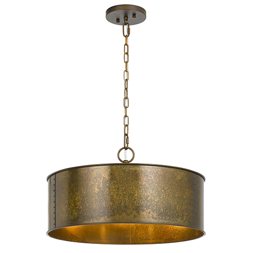 Rochefort Distressed Gold Three-Light Pendant
