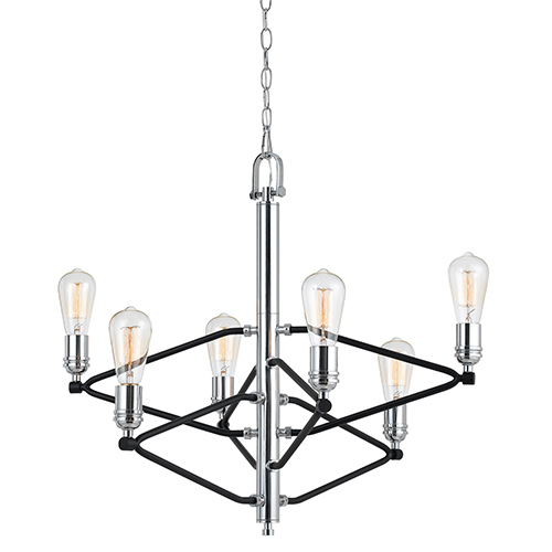 Chrome Six-Light Chandelier