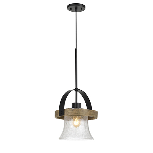 Black with Wood One-Light Pendant