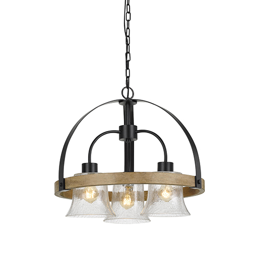 Black with Wood Three-Light Chandelier