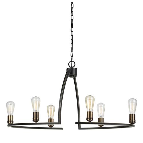 Cal Lighting Dark Bronze Six-Light Chandelier