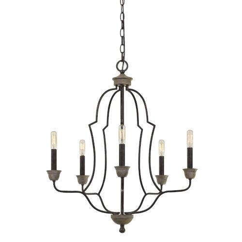 Lebrija Textured Bronze Five-Light Chandelier