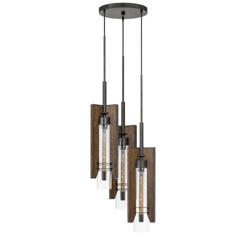 Almeria Pine and Iron Three-Light Pendant