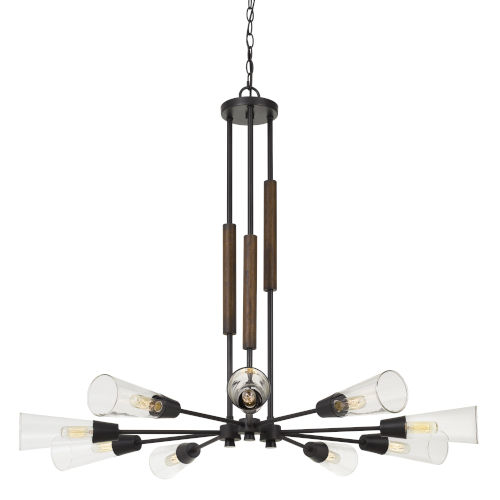 Vasto Pine and Iron Nine-Light Chandelier