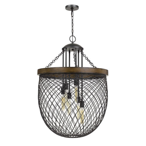 Marion Bronze and Natural Six-Light Chandelier