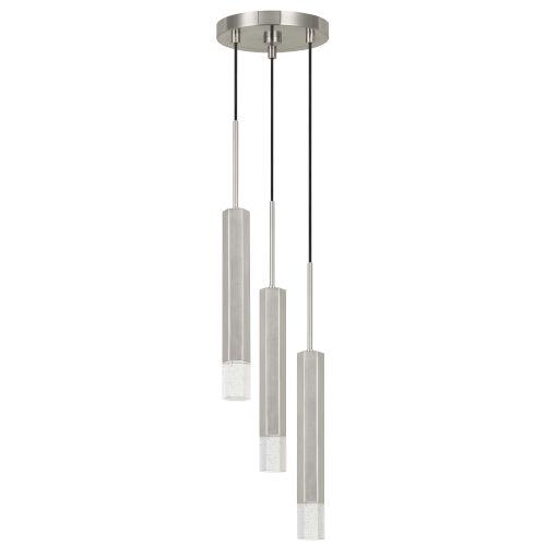 Gray and Chrome Three-Light Integrated LED Mini Pendant