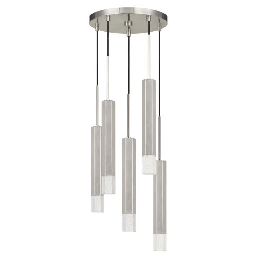 Gray and Chrome Five-Light Integrated LED Pendant