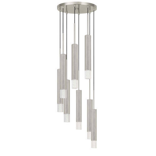 Gray and Chrome Eight-Light Integrated LED Pendant