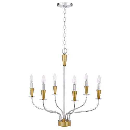 Weston Chrome Satin Brass Six-Light LED Chandelier