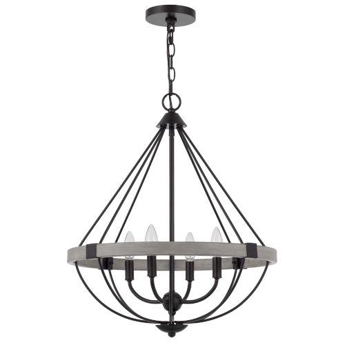 Somersworth White Washed Black Four-Light LED Chandelier