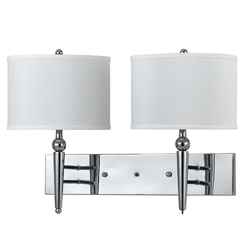 Cal Lighting Chrome 13-Inch Two-Light Wall Sconce