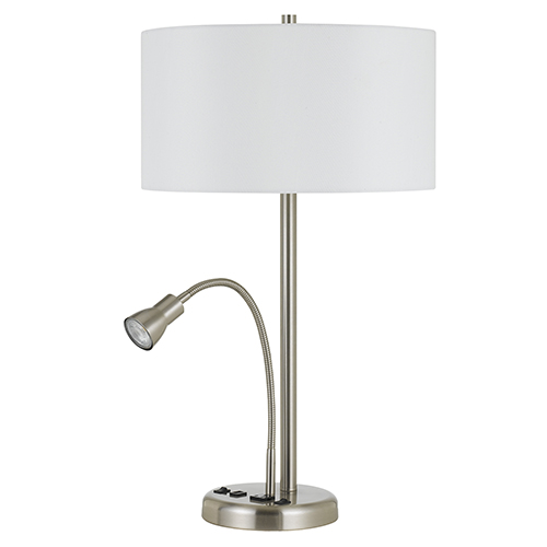 Brushed Steel One-Light Table Lamp with LED Task Lamp