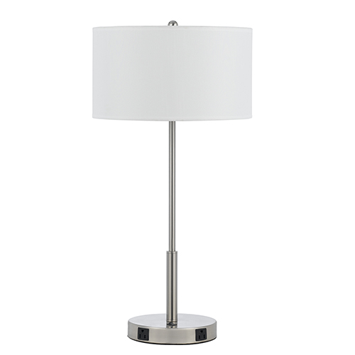 Cal Lighting Hotel Brushed Steel One-Light 100W Table Lamp with Two Outlets