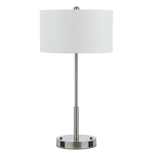 Cal Lighting Hotel Brushed Steel Two-Light 100W Table Lamp with Two Outlets