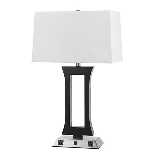 Hotel Brushed Steel and Espresso 28-Inch One-Light Table Lamp with Two Outlets