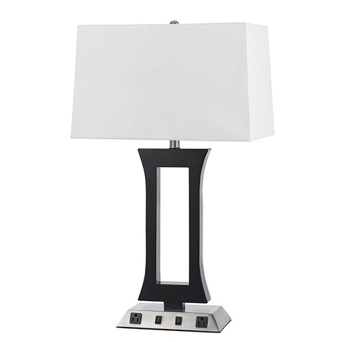 Cal Lighting Hotel Brushed Steel and Espresso 28-Inch Two-Light Table Lamp with Two Outlets
