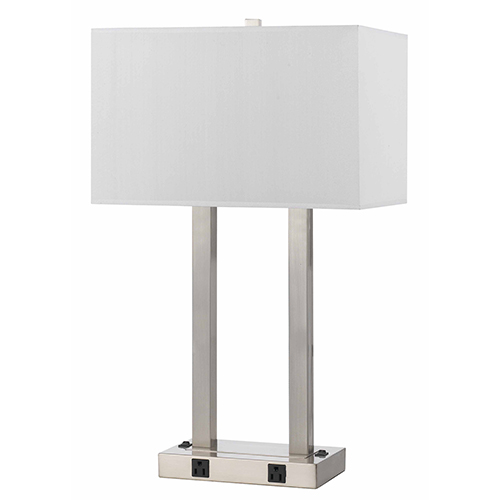 Brushed Steel Two-Light Desk Lamp with Two Outlets
