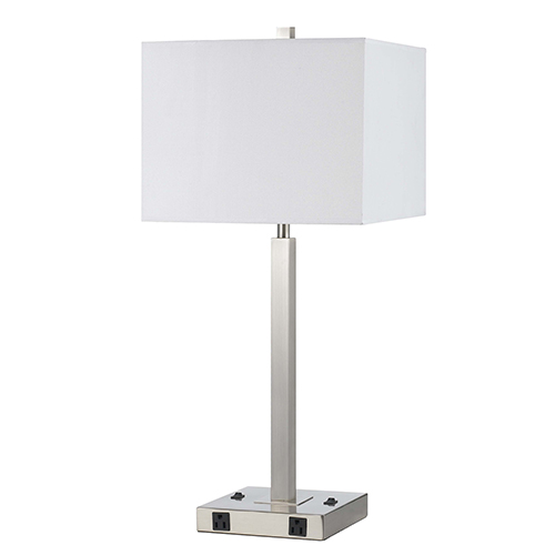 Brushed Steel Two-Light Table Lamp with Two Outlets
