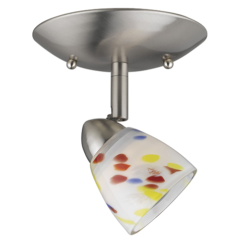 Serpentine Brushed Steel One-Light Halogen Plug In Semi Flush Mount with Opal Art Glass Shade