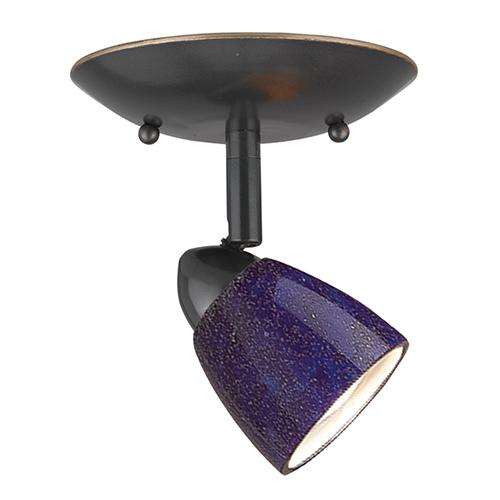Cal Lighting Serpentine Dark Bronze One-Light Halogen Plug In Semi Flush Mount with Blue Glass Shade