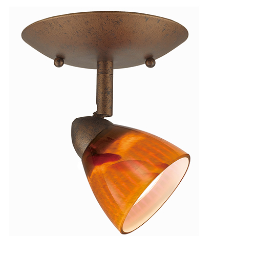 Serpentine Rust One-Light Halogen Plug In Semi Flush Mount with Amber Glass Shade