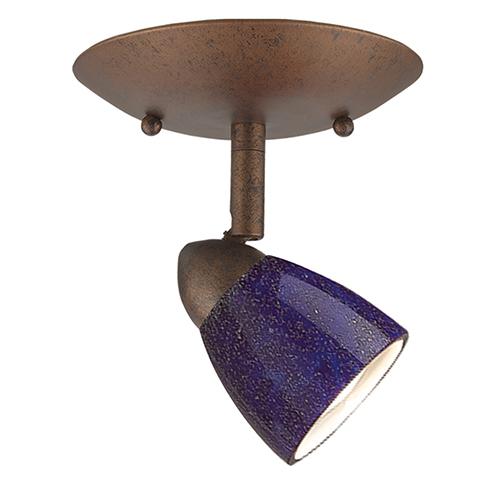 Serpentine Rust One-Light Halogen Plug In Semi Flush Mount with Blue Glass Shade