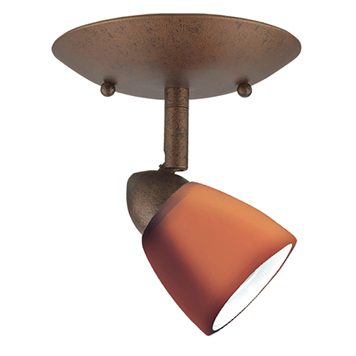 Serpentine Rust One-Light Halogen Plug In Semi Flush Mount without Shade