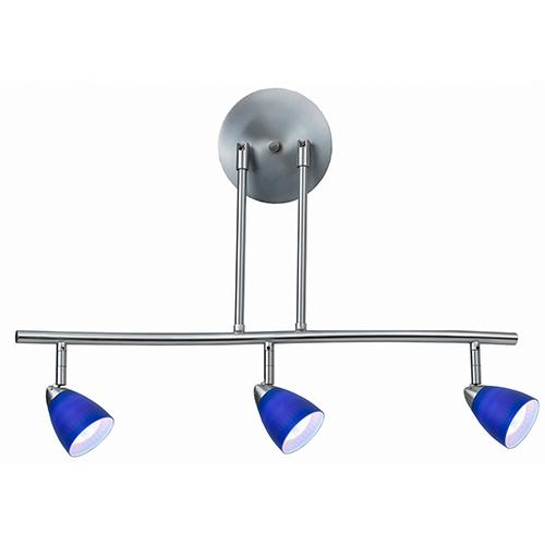 Cal Lighting Serpentine Brushed Steel Three-Light Halogen Track Light with Blue Glass