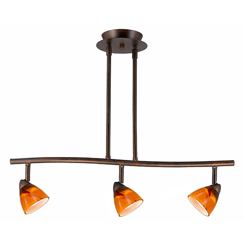Cal Lighting Serpentine Rust Three-Light Halogen Track Light with Amber Spot Glass