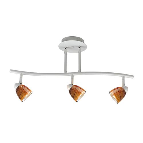 Cal Lighting Serpentine White Three-Light Halogen Track Light with Amber Spot Glass