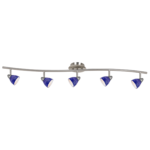 Serpentine Brushed Steel Five-Light Halogen Track Light with Blue Spotted Glass