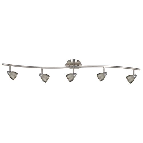 Cal Lighting Serpentine Brushed Steel Five-Light Halogen Track Light with Mesh Brushed Steel Shade