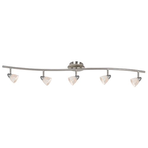 Serpentine Brushed Steel Five-Light Halogen Track Light with White Glass