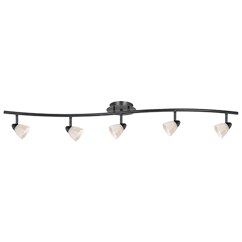 Serpentine Dark Bronze Five-Light Halogen Track Light with White Glass