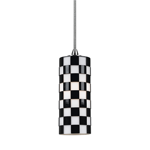 Cal Lighting Brushed Steel Eight-Inch One-Light Mini Pendant with Black and White Glass