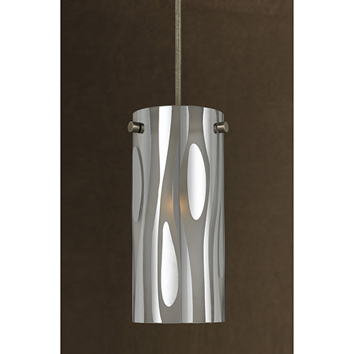 Cal Lighting Brushed Steel 12-Inch One-Light Mini Pendant with Smoke and Chrome Glass