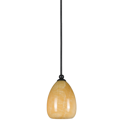 Cal Lighting Brushed Steel One-Light Mini Pendant with Stone Glass