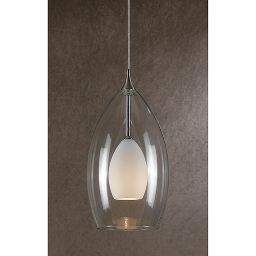 Brushed Steel One-Light Mini Pendant with White and Clear Glass