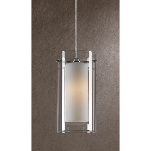 Rust One-Light Mini Pendant with White and Clear Glass