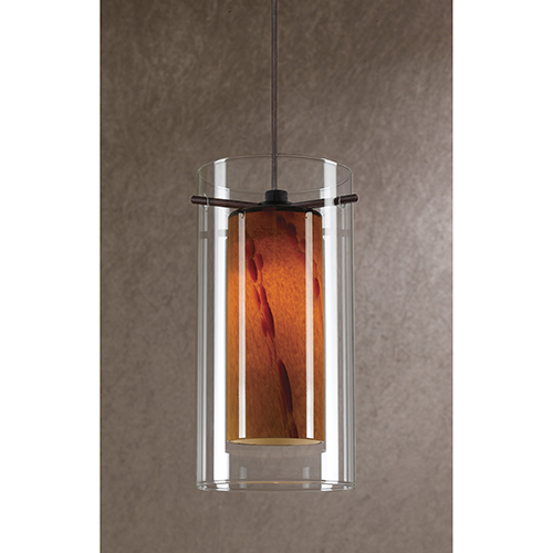 Cal Lighting Rust One-Light Mini Pendant with Amber Swirl and Clear Glass