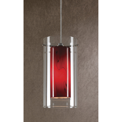 Brushed Steel One-Light Mini Pendant with Red Swirl and Clear Glass