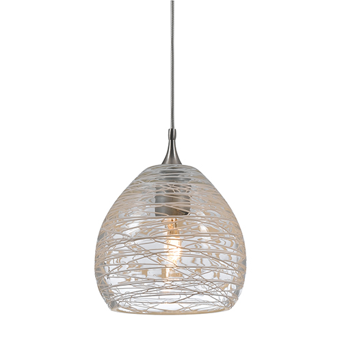 Brushed Steel One-Light Mini Pendant with Clear Glass