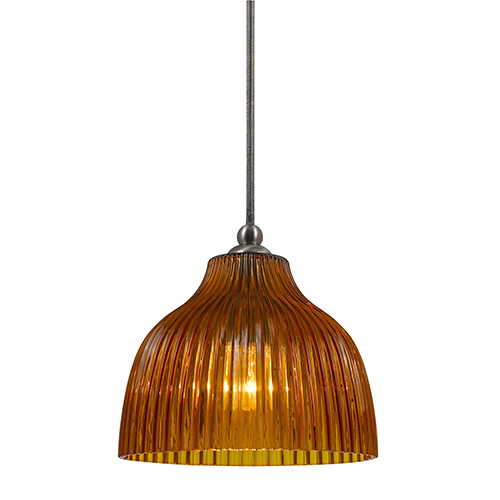 Brushed Steel One-Light Mini Pendant with Amber Glass