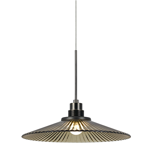 Cal Lighting Brushed Steel and Oil Rubbed Bronze One-Light LED Pendant with Amber Glass